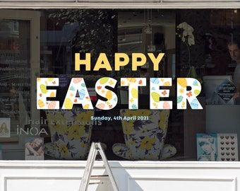 Happy Easter Floral Shop Window Decoration - Removable Retail Sign - Self Adhesive Removable Vinyl Sticker - Easter Sunday Eggs Decoration