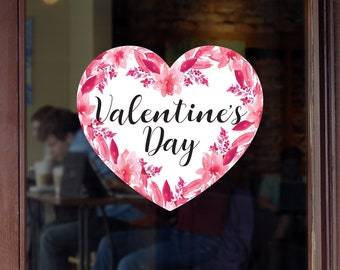Valentine's Day Heart And Flowers Shop Window Decoration, Removable Retail Sign, Self Adhesive Removable Vinyl Sticker, Flowers Decoration