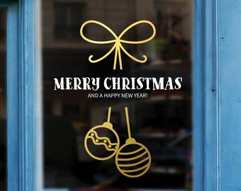 Merry Christmas Message Shop Window Decal - Removable Retail Display Vinyl - Seasonal Window Decor - Festive Season Sticker