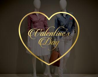 Valentine's Day Heart Window Decal - Removable Vinyl Sticker - Seasonal Shop Window Sign - Valentine's Day Shop Window Decoration