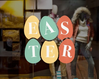 Colourful Easter Eggs Shop Window Decoration - Removable Retail Sign - Self Adhesive Removable Vinyl Sticker - Happy Easter - Easter Sunday