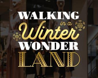 Walking in a Winter Wonderland Christmas Shop Window Decal - Removable Retail Display Vinyl - Seasonal Window Decor - Festive Season Sticker