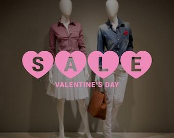 Sale and Promotion Glass Window Sticker - Happy Valentine's Day Retail Window Sign - Sale Sign Vinyl Sticker