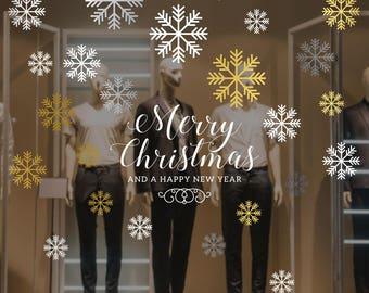 Merry Christmas Snowflakes Set Shop Window Decal - Removable Retail Display Vinyl - Seasonal Window Decor - Christmas Season Sticker