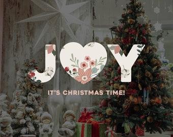 Joy Christmas Window Sign - Christmas Window Decal, Removable Vinyl, Christmas Window Decoration, Seasonal Decor, Floral Christmas Decor