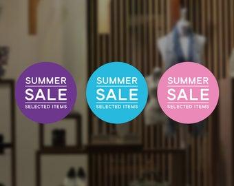 Summer Sale Retail Display Sign - Removable Vinyl Decal - Seasonal Shop Window Sticker - Summer Window Cling - Sale Retail Display