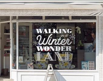Winter Wonderland, Christmas Decorations Window Decal, Shop Retail Window Display, Snowflakes Window Decoration, Removable Window Vinyl