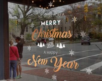 We Wish you a Merry Christmas Window, Vinyl Decal, Shop Retail Window Display, Decal, Season's Greetings, Seasonal Window Decoration