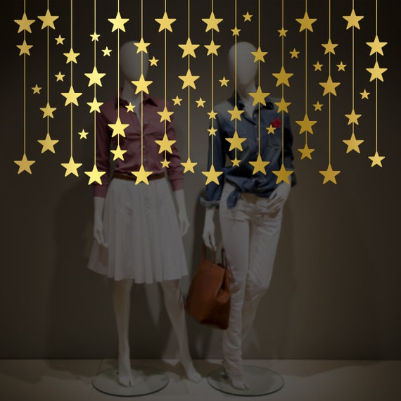 Hanging Stars Christmas Decorations Window Decal Shop Retail Window Display Gold Stars Stickers Removable Window Vinyl Happy Holiday