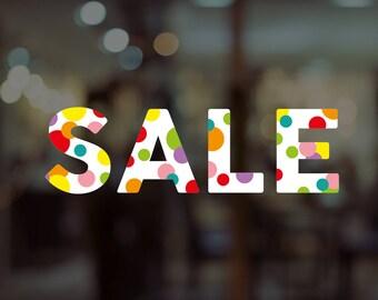 Colourful Sale Shop Window Sign - Removable Vinyl Decal - Seasonal Sale Shop Window Sticker - Sale Window Sticker - Promotion Retail Display