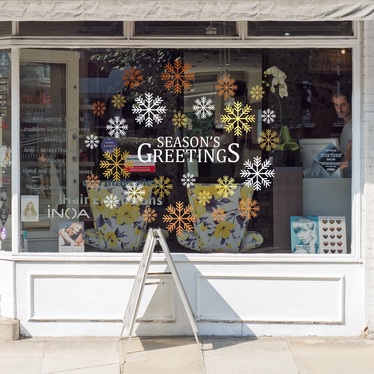 Seasons greetings christmas shop window decal shop retail window display happy holiday seasonal window decoration removable vinyl