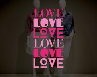 Love Typography Valentine's Day Window Decal - Removable Vinyl Sticker - Seasonal Shop Window Sticker - Valentine's Day Shop Window Decor