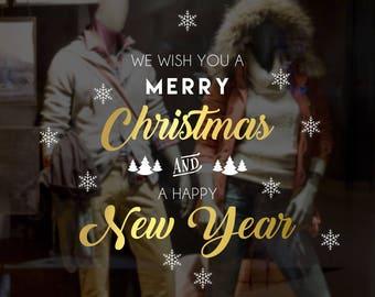 We Wish You a Merry Christmas Shop Decal - Removable Retail Display Vinyl - Seasonal Window Decor - Festive Season Sticker - Xmas Sticker