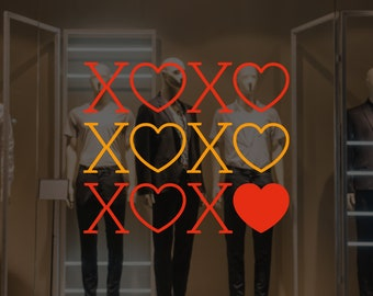 XOXO Valentine's Day Window Decal - Removable Vinyl Sticker - Seasonal Shop Window Decal - Valentine's Day Shop Window Decoration