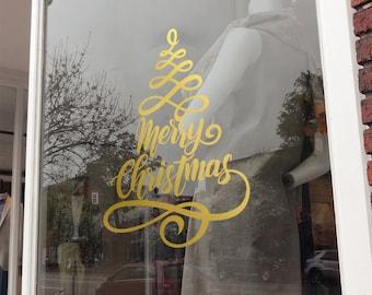 Merry Christmas Window Vinyl Sticker, Christmas Tree Window Decal, Shop Sign, Window Display, Seasonal Window Decoration, Wall Decal Sticker