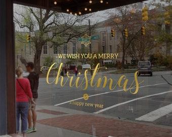We Wish You A Merry Christmas Window Decal, Shop Retail Window Display, Happy New Year, Seasonal Window Decoration, Removable Window Vinyl