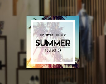 Tropical Summer Collection Shop Window Sign - Removable Vinyl Decal - Seasonal Shop Window Sticker - Summer Window Cling - Retail Display