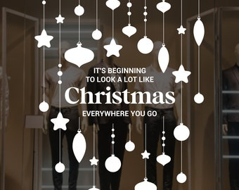 Christmas Song Decorations Window Decal, Shop Retail Window Display, Happy Holiday, Seasonal Window Decoration, Removable Window Vinyl