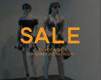Heat is On - Summer Sale Large Window Sign - Removable Vinyl Decal - Seasonal Shop Window Sticker - Summer Window Cling - Retail Display