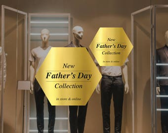 Father's Day Collection Retail Display Cling - Removable Window Vinyl Decal - Silver Shop Window Sticker - Father's Day Gold Window Cling