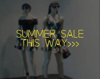 Summer Sale This Way Neon Lights Window Sign - Removable Vinyl Decal - Seasonal Shop Window Sticker - Summer Window Cling - Retail Display