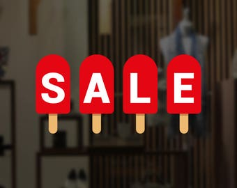 Summer Sale Popsicle Retail Display Sign - Removable Vinyl Decal - Seasonal Shop Window Sticker - Summer Window Cling - Retail Display
