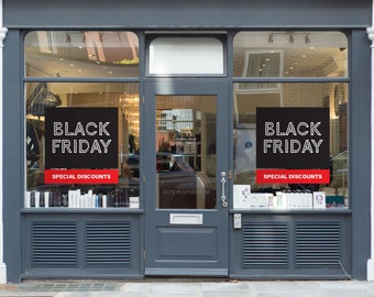 Black Friday Discounts Window Decal - Removable and Reusable Window Sticker - Promotional Window Sign for Black Friday - Black Friday