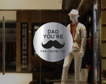 Fantastic Dad Moustache Father's Day Retail Display - Removable Window Vinyl Decal - Silver Shop Window Sticker - Gold Window Cling