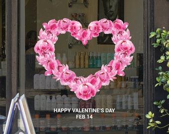 Heart Flower Wreath Valentine's Day Shop Window Vinyl Sticker - Valentine's Day Window Display - Flowers - Heart - Wreath