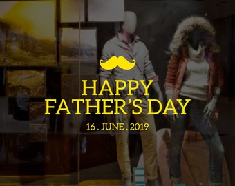 Happy Father's Day Moustache Retail Display - Removable Window Vinyl Decal - Seasonal Shop Window Sticker - Father's Day 2019