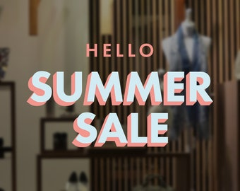 Colourful Summer Sale Shop Window Sign - Vinyl Decal - Seasonal Sale Shop Window Sticker - Sale Window Sticker - Promotion Retail Display