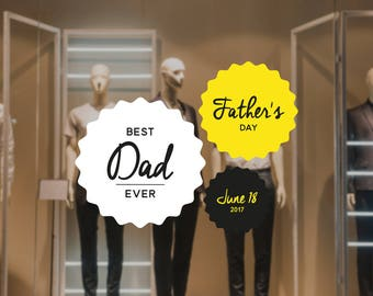 Father's Day Retail Display Sticker Set - Removable Window Vinyl Decal - Shop Window Sticker - Father's Day Reusable Window Cling