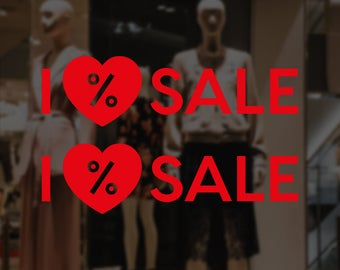 Set of 2 I Heart Sale Window Signs - Removable Vinyl Decal - Promotional Shop Window Sticker - Sale Window Cling - Retail Display Sale