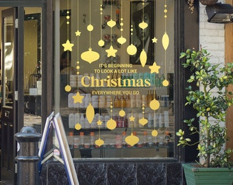 Christmas Song Shop Window Sign - Removable Retail Display Vinyl - Seasonal Decoration - Festive Season Sticker - Christmas Sticker