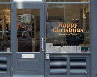 Add On Christmas Message Window Vinyl - Christmas Decorations Window Decal, Shop Retail Window Display, Happy Holiday, Removable Vinyl