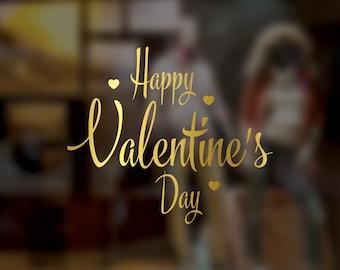Happy Valentine's Day Window Sticker - Gold Valentine's Day sticker - Heart - Valentine's day decoration