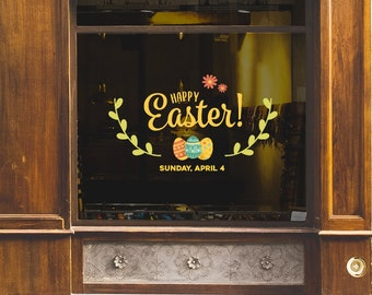 Happy Easter Shop Window Decoration - Removable Retail Sign - Self Adhesive Removable Vinyl Sticker - Happy Easter - Easter Eggs Decoration