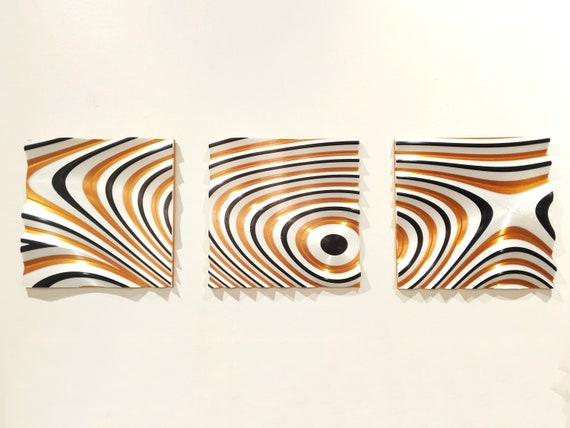 3d Printed Wall Art Set Of 3 Original Geometric Abstract Design 31 5 X 10 5 X 1 Copper Black White Decor Triptych 3d Art