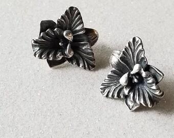 Vintage Sterling Silver 925 Flower Iris Plant Earrings Estate Jewelry
