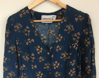 Navy, Floral maxi dress. Button down front and tie back. Caroline Wells. Size 8-10