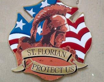 "St Saint Florian Patron Saint of Firefighters Decal (4"")"