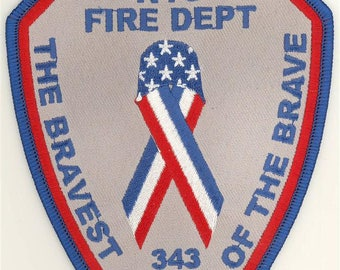 """91101 343 NYC Fire Dept Bravest of the Brave Patch (4"""")"""