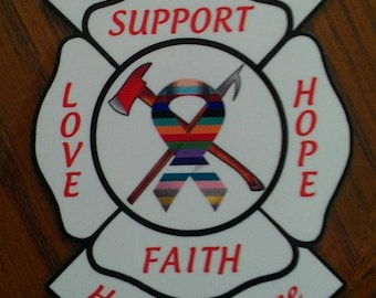 """Defeat All Cancer Find A Cure Support Love Hope Faith Maltese Decal (5"""")"""