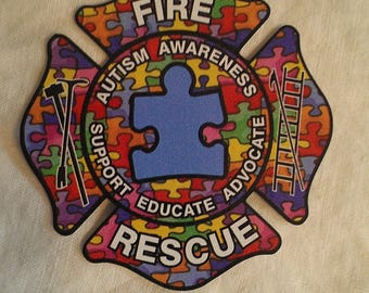 """Fire Rescue Autism Awareness Educate Decal (4"""")"""