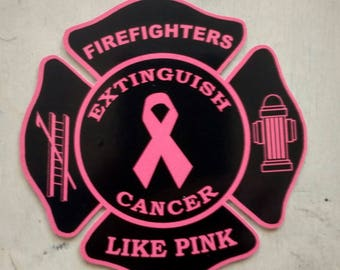 Breast Cancer Awareness Firefighters Like Pink Extinguish Cancer Decal (4x4)