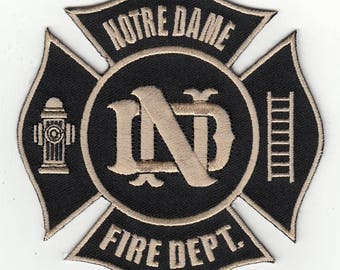 """Indiana University of Notre Dame Fire Department Fighting Irish Patch (4"""")"""