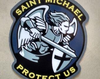 """St Saint Michael Patron Saint of Police Cops Decal (4"""")"""
