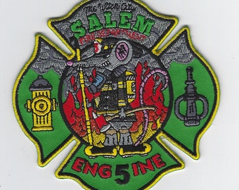 "Massachusetts Salem Fire Department Patch Engine 5 Halloween Witch (4"")"