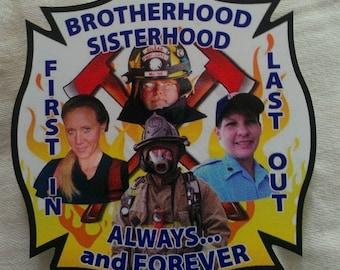 "Firefighter Brotherhood Sisterhood Decal (4"")"