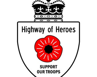 """Canada Highway Of Heroes Support Our Troops (white) Decal (4"""")"""